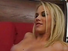 Blonde slut in ripped pantyhose gets her shaved beaver slammed