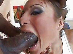 Hot girl gagging on huge black cock
