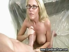 Blonde babe with sex loves pulling cock