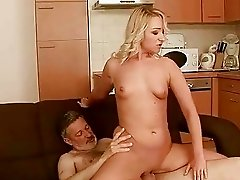 Teen enjoys hard sex with older man