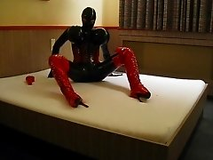 Latex play in bed