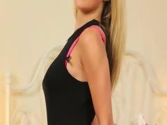 Black lingerie and high heels strip