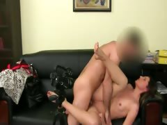 Fake agent having sex on leather bed