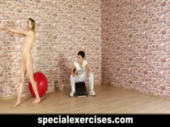 Naked discipline training for teen blondie