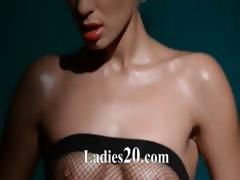 Luxury model masturbating in pantyhose