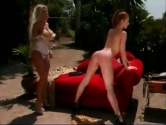 Two hot babes have fun outdoor as they