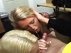 two crazy blondes suck a cock