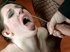 Huge facial load on slave girl