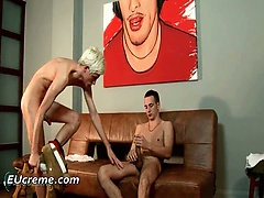 Gay blonde haired guy loves to suck cock