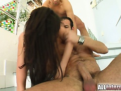 Busty Eva gets fucked by two guys. She squirts as they pound her holes hard. Two loads of cum explode from her freshly filled ass