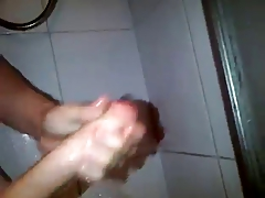 Big cock stroking in shower