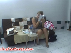 Chubby lady with a fat pussy fucked behind the scene