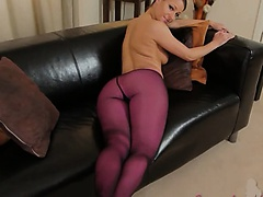 Purple nylon pantyhose on hot model
