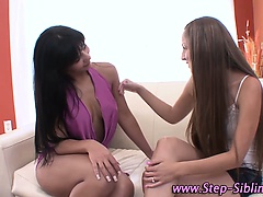 Lesbian step siblings suck