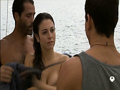 Blanca Suarez topless but covered show us her huge cleavage