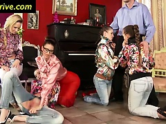Classy clothed euro babes piss