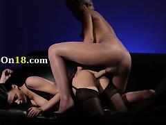 luxury brunette sucking penis of rubber