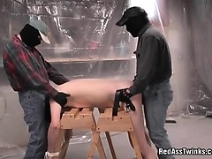 Two kinky maksed dudes fuck one innocent tied guy up the