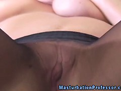 Blonde nylons babe teasing her pussy