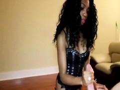 Skinny ebony toying with white dick