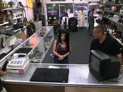 Horny Cuban babe goes in the pawn shop and fucks for money