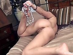 Playful bedroom striptease with Victoria Jones