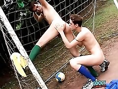 Sporty soccer boys have anal sex outdoors