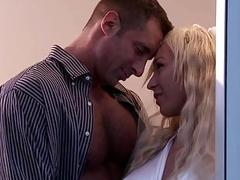 Cheerful blonde bride gets fucked in her new sexy marriage