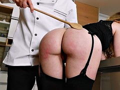 misha cross gets her nice butt worshipped in the kitchen