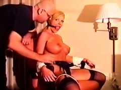 Real bondage act with a chap thonging this slut tight