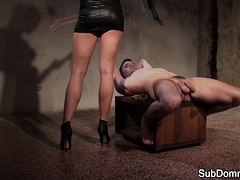 Dominant euro tugging restrained subs cock