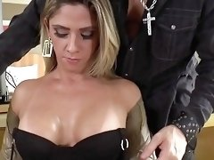 Gorgeous Brazilian MILF shemale Nicole Bahls takes young studs's ass