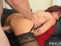 Big tits redhead MILF riding thick cock in her stockings