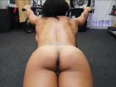 Busty muscular chick worked out and fucked in the store