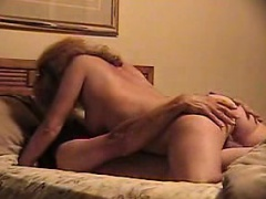 Sexy blonde milf moves complete cowgirl on the dong of her