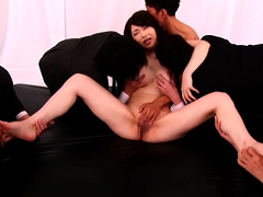 Big breasted Asian slut gets her hairy beaver drilled hard