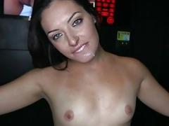 Babe sucks a cock until it gives her warm goo