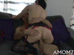 Big tits brunette with short hair gets her MILF pussy pounded