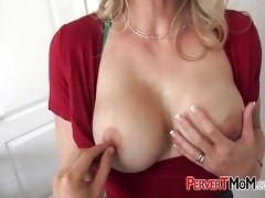 Horny milf makes stepson play with her tits and tight cunt
