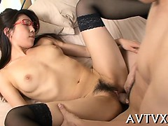 Gagged asian acquires rough jamming and pussy toying