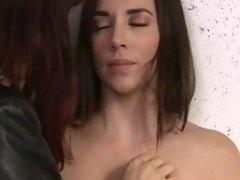 Brunette rubs hairy pussy