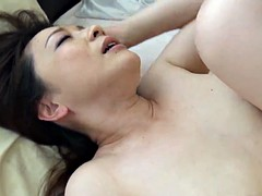 Big ass Japanese mom rides hairy disco stick