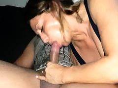 brunnete milf on webcam giving a blowjob