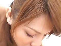 Hairy teen Sara Nakamura sits on her guys face