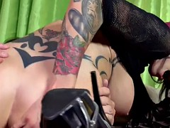 Pink haired slut rides horny mature guy like a pro
