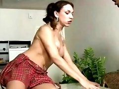 Young cock-hungry shemale chick in skirt fucks hunky young dude