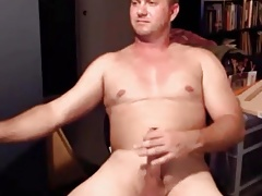 Sexy hunk guy stroking