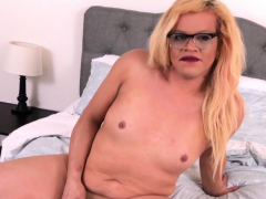 Horny blonde tranny gets her dick out