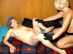 Kinky grannies strip to lingerie and fool around