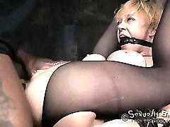Bound sex slave anally destroyed by her masters